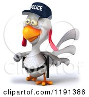 Clipart Of A 3d White Police Chicken Walking 2 Royalty Free CGI Illustration