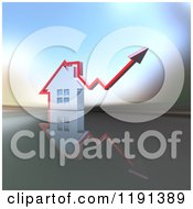 3d Chrome House With A Red Arrow Going Up