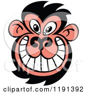 Cartoon Of A Grinning Ugly Monkey Face Royalty Free Vector Clipart