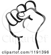 Clipart Of A Black And White Hand In A Fist Royalty Free Vector Illustration by Zooco