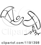Clipart Of A Black And White Stick Drawing Of A Person Kite Surfing Royalty Free Vector Illustration