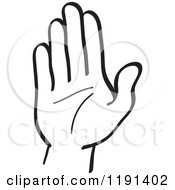 Clipart Of A Black And White Hand Gesturing Stop Royalty Free Vector Illustration by Zooco