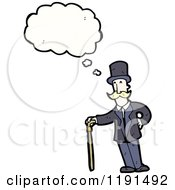 Cartoon Of A Man In A Top Hat With A Cane Thinking Royalty Free Vector Illustration