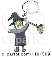 Cartoon Of A Witch Thinking Royalty Free Vector Illustration by lineartestpilot