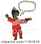 Cartoon Of A Black Man With A Ray Gun Speaking Royalty Free Vector Illustration by lineartestpilot