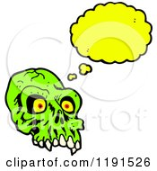 Cartoon Of A Scary Green Skull Thinking Royalty Free Vector Illustration