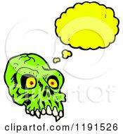 Poster, Art Print Of Scary Green Skull Thinking