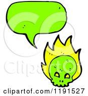 Poster, Art Print Of Green Skull Speaking
