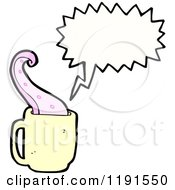 Cartoon Of A Tentacle In A Coffee Cup Speaking Royalty Free Vector Illustration