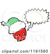 Cartoon Of A Skull Wearing A Santa Hat Speaking Royalty Free Vector Illustration