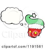 Cartoon Of A Skull Wearing A Santa Hat Thinking Royalty Free Vector Illustration