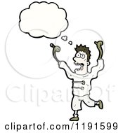 Cartoon Of A Crazy Man Thinking Royalty Free Vector Illustration by lineartestpilot