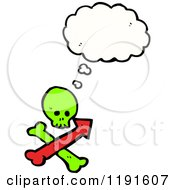 Poster, Art Print Of Skull And Directional Arrow Thinking