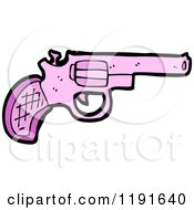 Cartoon Of A Pink Handgun Royalty Free Vector Illustration
