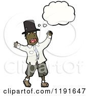 Cartoon Of An African American Hobo Thinking Royalty Free Vector Illustration