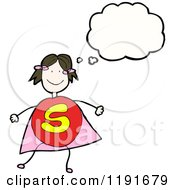 Cartoon Of A Stick Girl Thinking Royalty Free Vector Illustration