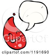 Cartoon Of A Red Drop Speaking Royalty Free Vector Illustration by lineartestpilot