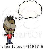 Cartoon Of A Black Boy Thinking Royalty Free Vector Illustration