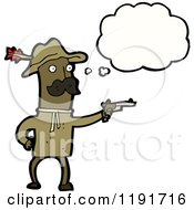 Cartoon Of An African American Man Dressed As Teddy Roosevelt Thinking Royalty Free Vector Illustration