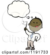 Cartoon Of An African American Boy With A Flag Thinking Royalty Free Vector Illustration by lineartestpilot