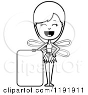 Cartoon Of A Black And White Happy Fairy Standing By A Sign Royalty Free Vector Clipart
