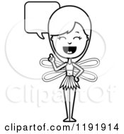 Cartoon Of A Black And White Talking Fairy Royalty Free Vector Clipart