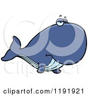 Cartoon Of A Bored Whale Royalty Free Vector Clipart