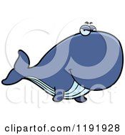 Cartoon Of A Sly Whale Royalty Free Vector Clipart