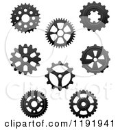 Clipart Of Black And White Gear Cog Wheels 3 Royalty Free Vector Illustration