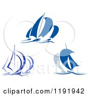 Clipart Of Blue Regatta Sailboats 8 Royalty Free Vector Illustration