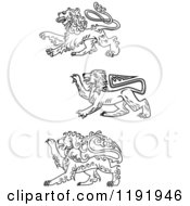 Clipart Of Black And White Royal Heraldic Lions Royalty Free Vector Illustration