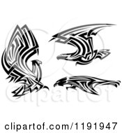 Clipart Of Black And White Flying Tribal Eagles Falcons Or Hawks Royalty Free Vector Illustration
