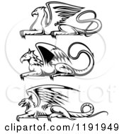 Clipart Of Black And White Resting Griffins Royalty Free Vector Illustration