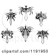 Clipart Of Black And White Tribal Winged Swords 3 Royalty Free Vector Illustration by Vector Tradition SM