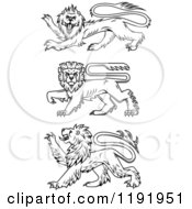 Clipart Of Black Heraldic Lions In Profile Royalty Free Vector Illustration