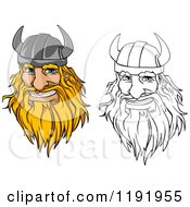 Cartoon Of Happy Blond And Outlined Male Viking Warrrior Face With A Helmet And Beard Royalty Free Vector Clipart by Vector Tradition SM