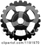 Clipart Of A Black And White Gear Cog Wheel 16 Royalty Free Vector Illustration