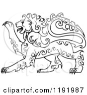 Clipart Of A Black And White Curly Haired Royal Heraldic Lion 2 Royalty Free Vector Illustration