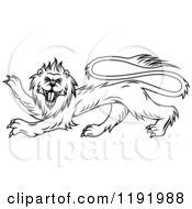Clipart Of A Black Heraldic Lion In Profile Royalty Free Vector Illustration