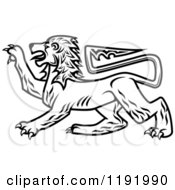 Clipart Of A Black And White Royal Heraldic Lion Royalty Free Vector Illustration