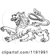 Clipart Of A Black And White Curly Haired Royal Heraldic Lion Royalty Free Vector Illustration