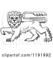 Clipart Of A Black Heraldic Lion In Profile 2 Royalty Free Vector Illustration