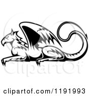 Clipart Of A Black And White Resting Griffin 2 Royalty Free Vector Illustration by Vector Tradition SM