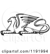 Clipart Of A Black And White Resting Griffin Royalty Free Vector Illustration by Vector Tradition SM