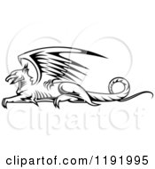 Clipart Of A Black And White Resting Griffin 3 Royalty Free Vector Illustration by Vector Tradition SM