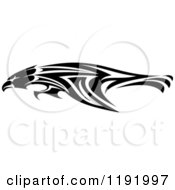 Clipart Of A Black And White Flying Tribal Eagle Falcon Or Hawk 3 Royalty Free Vector Illustration by Vector Tradition SM