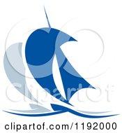 Clipart Of Blue Regatta Sailboats 6 Royalty Free Vector Illustration