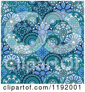 Clipart Of A Seamless Pattern Of Blue Circle Flowers Royalty Free Vector Illustration