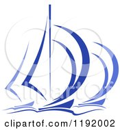 Clipart Of Blue Regatta Sailboats 5 Royalty Free Vector Illustration