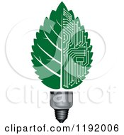 Clipart Of A Light Bulb With A Green Vein Leaf And Circuits Royalty Free Vector Illustration